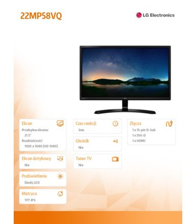 LG Electronics 21.5'' 22MP58VQ-P LED IPS HDMI/DVI/D-sub