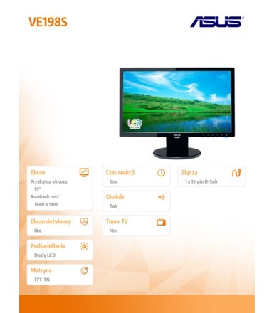 Asus 19'LED wide 5ms 1000:1 D-sub głośnik VE198S