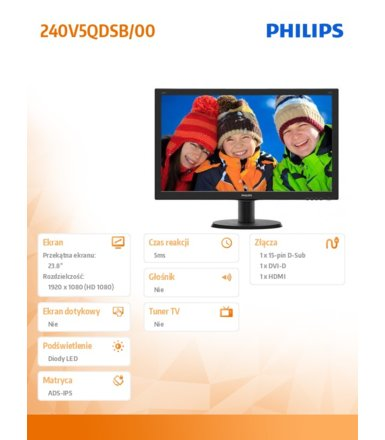 Philips 23.8''  240V5QDSB 23.8' IPS-ADS DVI HDMI Czarny