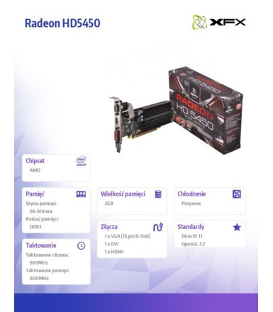 XFX Radeon HD5450 3GB HyperMemory DDR3 64-BIT Silent Low Profile (HDMI DVI VGA) BOX