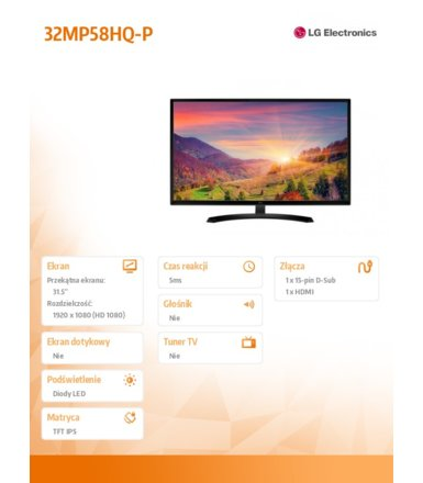 "LG Electronics 31.5"" 32MP58HQ-P IPS"
