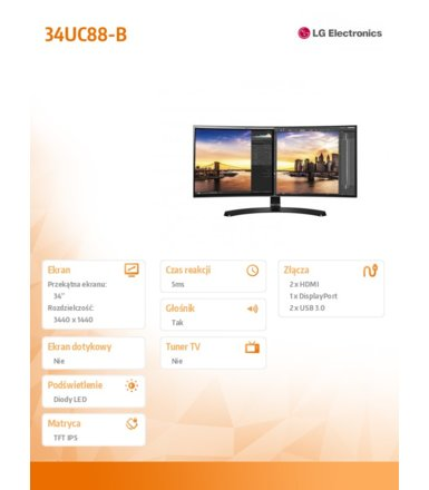 "LG Electronics 34"" 34UC88-B LED IPS HDMI/USB/DS"