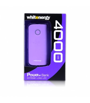 Whitenergy POWERBANK 4000mAh 2x USB 2.1A 1A fiolet, kabel