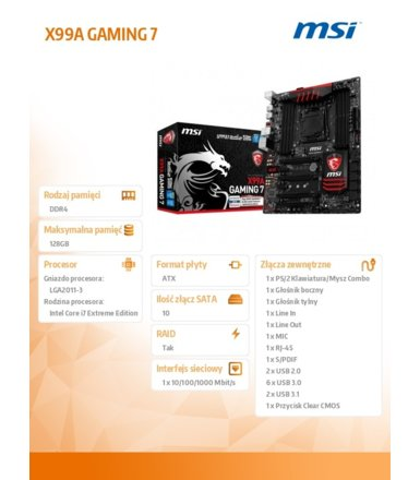 MSI X99A GAMING 7 s2011-3 X99A 8DDR4 USB3.1 ATX