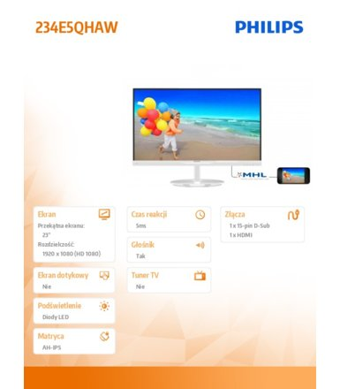 Philips 23'' 234E5QHAW LED AH-IPS HDMI MHL Biały