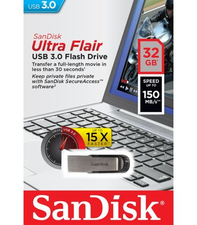 SanDisk ULTRA FLAIR USB 3.0 32GB (do 150MB/s)