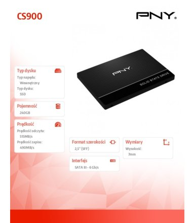 PNY SSD 240GB 2,5 SATA3 SSD7CS900 515/490MB/s
