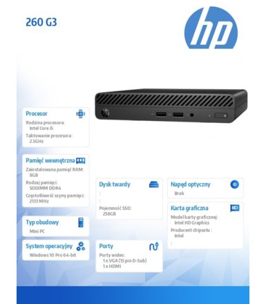 HP Inc. Desktop Mini 260DM G3 i5-7200U 256/8GB/W10P     5BM34EA