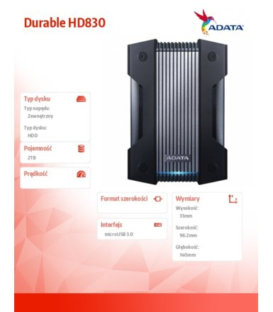Adata Dysk twardy Durable HD830 2TB microUSB3.0 Black