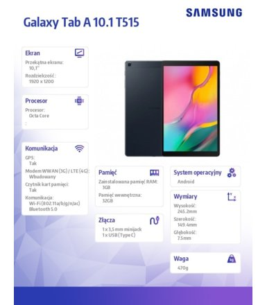 Samsung Tablet GALAXY Tab A 10.1 T515 LTE 3/32GB BLACK