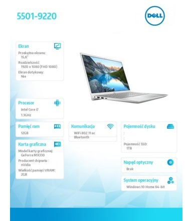 Dell Notebook Inspiron 5501 Win10Home i7-1065G7/1TB/12/MX330/S