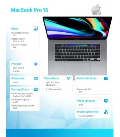 Apple MacBook Pro 16 Touch Bar: i9 2.4GHz/32GB/2TB/R5500M - Space Gray MVVK2ZE/A/P1/R1/D1/G1