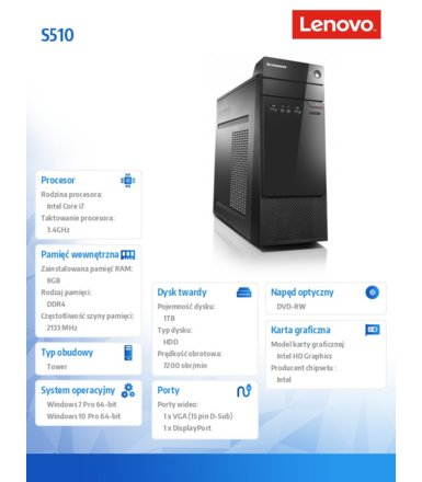 Lenovo S510 TOWER 10KW0019PB W7P&W10Pro i7-6700/8GB/1TB/INTEGRATED/DVD/3YRS OS