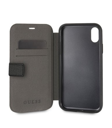 GUESS Etui book GUFLBKI65IGLBK iPhone Xs Max czarny Iridescent