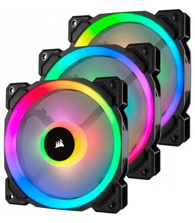 Corsair Fan LL120 RGB LED PWM 3 Fun Pack                        Dual Light Loop RGB LED PWN Fan - 3 Fan Pack with Lighting Node PRO