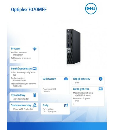 Dell Komputer Optiplex 7070 MFF W10Pro i7-9700T/8GB/256GB SSD/Intel UHD 630/WLAN + BT/KB216 & MS116/3Y NBD
