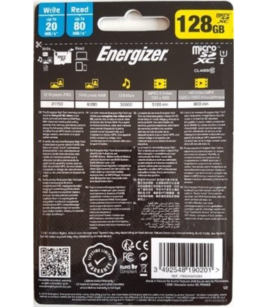 Energizer Karta pamięci microSDXC UHS-I U1 HIGHTECH 128GB + adapter SD