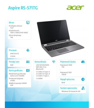 Acer Laptop Aspire R5-571TG-51A3 i5-7200U/15.6 FHD TouchScreen /8GB/1TB+SSD 128GB/BT/BLKB/FPR/x360/GeForce 940MX 2GB/Win 10