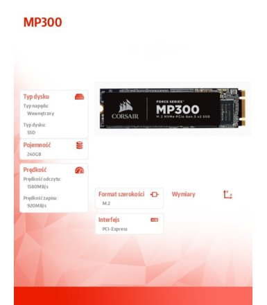 Corsair SSD 240GB MP300 Series 1580/920 MB/s PCIe M.2
