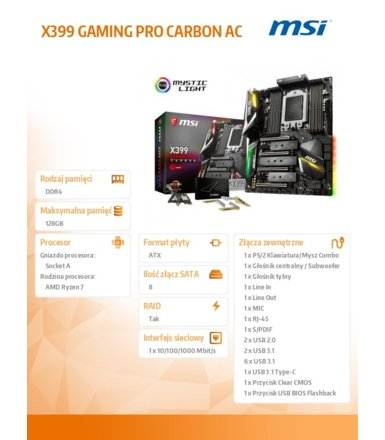 MSI X399 GAMING PRO CARBON AC 8DDR4 USB3/M.2/RAID