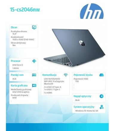 HP Inc. Laptop Pavilion 15-cs2046nw i5-8265U 1TB/8G/W10H/15,6 6VT82EA