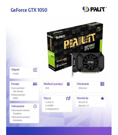 Palit GeForce GTX 1050 StormX 2GB DDR5 128BIT DVI-D/HDMI/DP