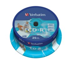 Verbatim CD-R 52x 700MB 25P CB Printable   43439