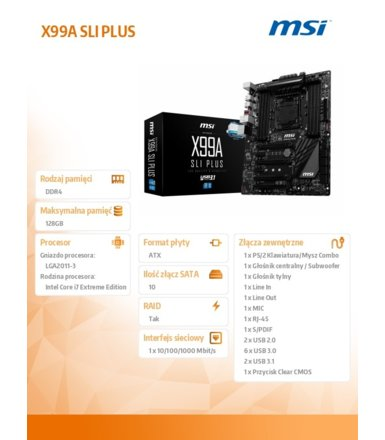 MSI X99A SLI PLUS s2011 -3 X99 8DDR4 USB3.1 ATX