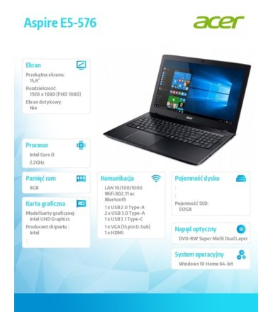Acer Laptop Aspire E5-576-392H i3-8130U/15.6 FHD AntiGlare/8GB/SSD 512GB/DVD/BT/Win 10