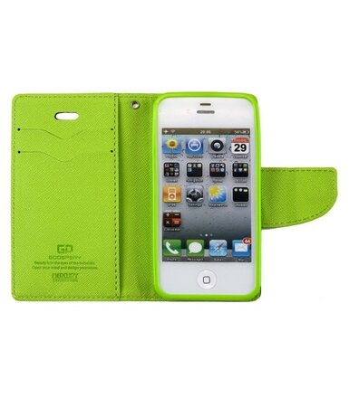wel.com Etui skórzane Fancy do Apple iPhone 4/4s granat - limonka