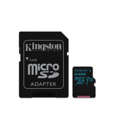 Kingston microSD  64GB Canvas Go 90/45MB/s UHS-I V30 + adapter