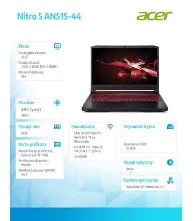 Acer Notebook Nitro 5 AN515-44-R3E6    WIN10H 4600H/8GB/512G/1650/15.6