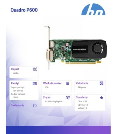 HP Inc. NVIDIA Quadro P600 2GB Kit 1ME42AA