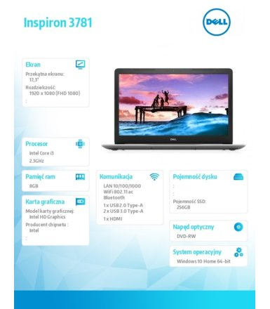 Dell Notebook Inspiron 3781 Win10Home i3-7020U/256/8/INT/Black