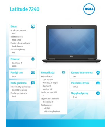 "Dell Latitude 7240 W78.1 (lic 64-bit Win8, nosnik) i5-4310U/128SSD/8GB/HD4400/BT 4.0/4CELL/3Y NBD/12,5"" HD"