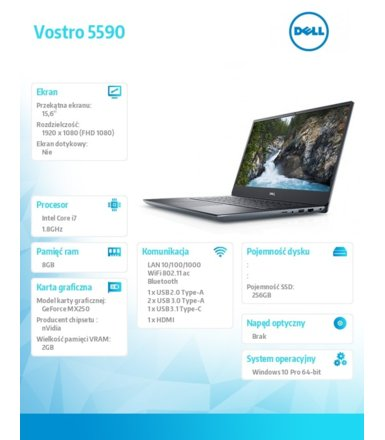 Dell Notebook Vostro 5590/Intel i7-10510U/8GB/256GB SSD/15.6 FHD/GeForce MX 250/FgrPr/Cam & Mic/WLAN + BT/Backlit Kb/3 Cell/W10Pro 3Y BWOS